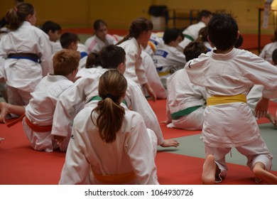 Sunday 8 April 2018, Lido di Jesolo, Venice, Italy, young strangers take part in the judo event, the Tournament of belts