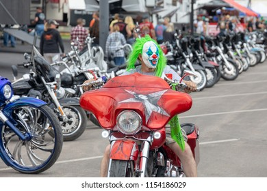 SUNDAY, AUGUST 5, 2018, STURGIS, SD: One of the many colorful characters to be seen, riding down Main Street in Sturgis, South Dakota, during the opening days of the 2018 Sturgis Motorcycle Rally.