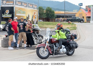 SUNDAY, AUGUST 5, 2018, STURGIS, SD: One of the many tens of thousands of bikers to ride into Sturgis, South Dakota, during the opening weekend of the 2018 Sturgis Motorcycle Rally.
