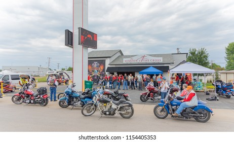 SUNDAY, AUGUST 5, 2018, STURGIS, SD: On the outskirts of Sturgis, near i-90, the Hellfighters International Christian Ministries motorcycle club meets to share their faith and help others in need.