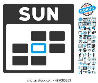 Sunday Calendar Page icon with bonus calendar and time management images. Glyph illustration style is flat iconic bicolor symbols, blue and gray colors, white background.