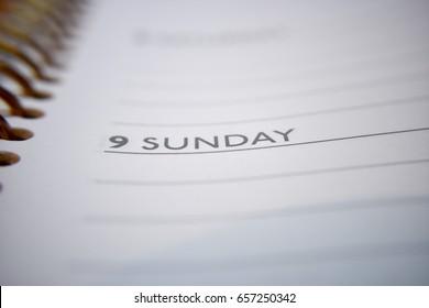 Sunday header in planner