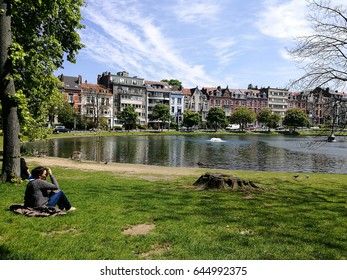 Sunday at Ixelles lakes, Brussels, Belgium. 7 May 2017