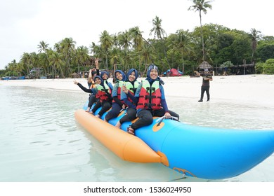 Sunday, October 20, 2019 located on the beach balaikambang, located in the city of balaikambang, South Sulawesi, Indonesia. this activity illustrates the excitement of doing water sports available her