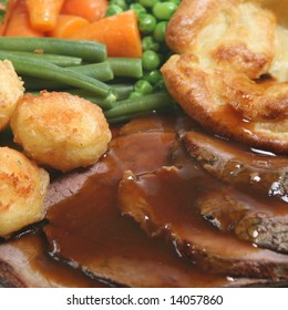 Sunday roast dinner with beef and Yorkshire pudding
