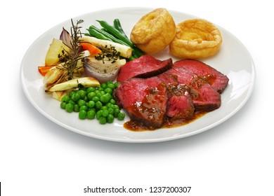 sunday roast dinner plate  isolated on white background