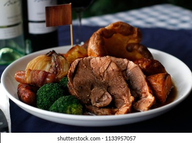 Sunday roasts dinner  with wine