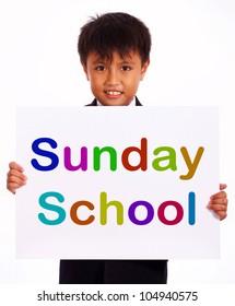 Sunday School Sign Shows Christian Kids Activity