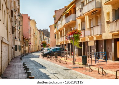 sunday summer shopping street in Bandol, Cote dAzur
