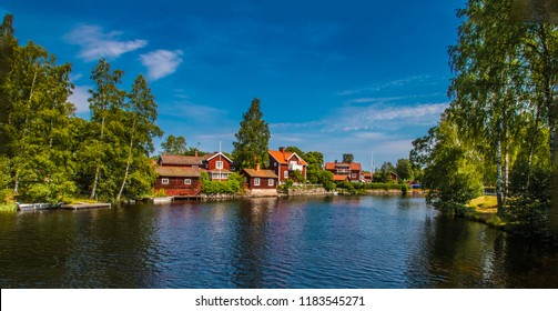 Sundborn, a small, dreamy place in Dalarna / Sweden where artist Carl Larsson lived. Summer day, blue sky, water, silence,