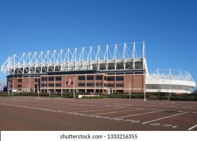 SUNDERLAND, ENGLAND - FEBRUARY 26, 2019: Stadium of light football arena for Sunderland A.F.C in England