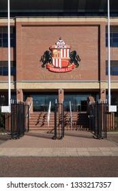 SUNDERLAND, ENGLAND - FEBRUARY 26, 2019: Sunderland A.F.C logo on the Stadium of light football arena