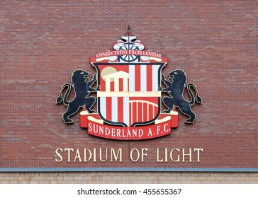 SUNDERLAND, ENGLAND - NOVEMBER 27:  The Sunderland Football Club crest adorns the club's home, the Stadium of Light, in Sunderland, England on November 27, 2015.