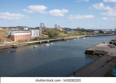 Sunderland - Great Britain / April 13, 2019 : View across the River Wear towards Sunderland University St Peters campus