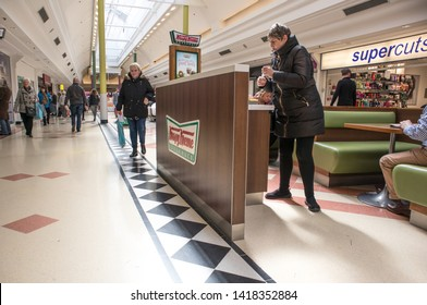 Sunderland - Great Britain / April 13, 2019 : Krispy Kreme stad inside a modern shopping centre mall