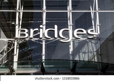 Sunderland / Great Britain - February 19, 2019 : Exterior shot of the Bridges Shopping Centre Mall Entrance in Sunderland City Centre.  Signage visable.  Modern design.