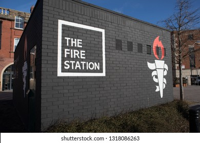 Sunderland / Great Britain - February 19, 2019 : Exterior shot of The Fire Station converted historic building into bar, bistro and event venue in Sunderlands Arts and Culture Quarter