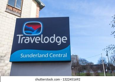 Sunderland / Great Britain - February 19, 2019: Exterior shot of Travelodge, Sunderland Central, signage.