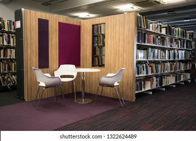 Sunderland / Great Britain - February 19, 2019: Seating area in the Univerisyt of Sunderland Murry Library.
