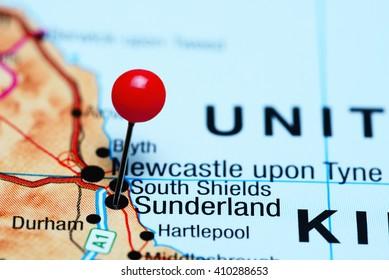 Sunderland pinned on a map of UK