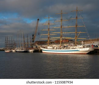 Sunderland, UK - July 11, 2018: Tall ships from across Europe gather in the Port of Sunderland in advance of the Tall Ships Races 2018, Sunderland-to-Esbjerg, Denmark. Ships pictured: (l-r) Fryderyk C