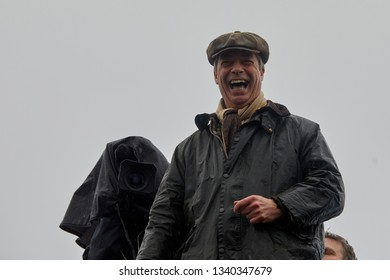 Sunderland, UK. - March 16, 2019: Nigel Farage addresses supporters during a break on the first leg of the March to Leave walk from Sunderland to Hartlepool.