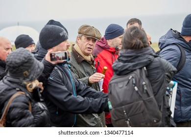 Sunderland, UK. - March 16, 2019: Nigel Farage talking to media as he marches on the first leg of the March to Leave walk from Sunderland to Hartlepool.