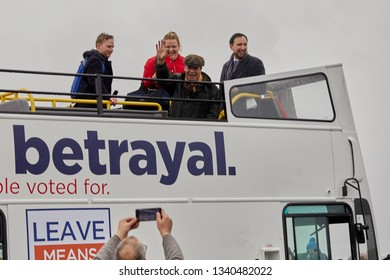 Sunderland, UK. - March 16, 2019: Nigel Farage waves to a fan during a stop on the first leg of the March to Leave protest from Sunderland to Hartlepool.