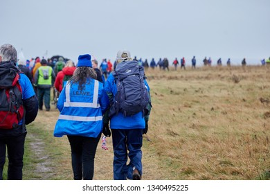 Sunderland, UK. - March 16, 2019: Marchers on the first leg of the March to Leave protest walk from Sunderland to Hartlepool.