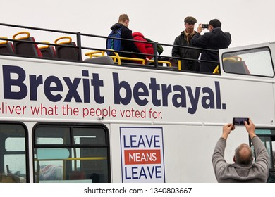 Sunderland, UK. - March 16, 2019: Nigel Farage being photographed on the top of a bus during a break in the first leg of the March to Leave from Sunderland to Hartlepool.