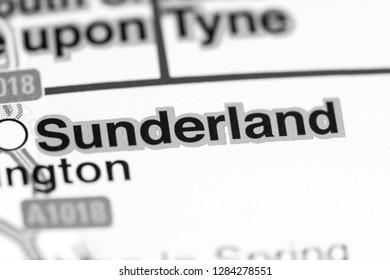 Sunderland. United Kingdom on a map