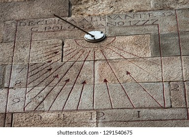 a sundial in barcelona castle, facing not south but east