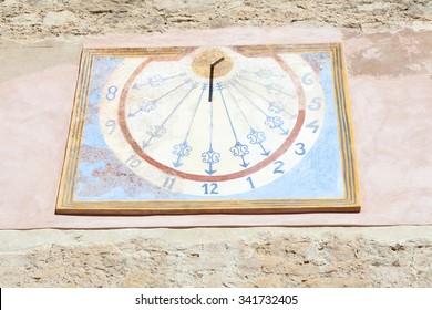 Sundial in a church in Teruel, Spain