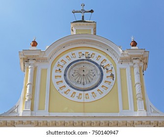 Sundial Clock at Church in Minori