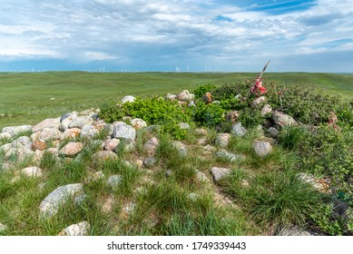 Sundial Hill Medicine Wheel in south eastern Alberta. The Sundial Hill Medicine Wheel is a religious site constructed by indigenous people of the planes. This site may be thousands of years old.