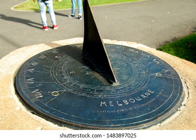A Sundial or Shadow clock on a park located in Melbourne, Australia. This was used in ancient times to read time - June 11, 2019