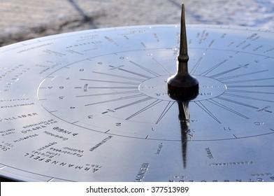 Sundial in Thingvellir National Park in winter, Iceland.