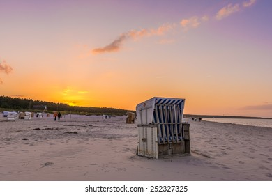 sundown avbove a beach at Darss Peninsula in Germany