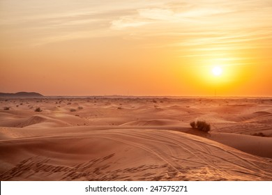 Sundown in desert. Desert background.