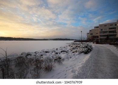 Sundown and footpath in Espoo, Finland