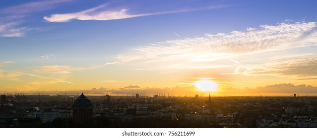 Sundown in Hamburg, Germany