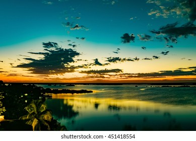 sundown at laguna of bacalar, mexico