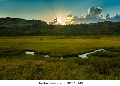 Sundown on Altay, Siberia, Russia, Autumn