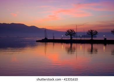 sundown over Zürich lake, Rapperswill, Switzerland