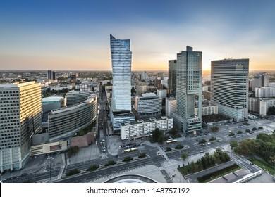 Sundown over Warszawa city, capital of Republic of Poland - Shutterstock ID 148757192