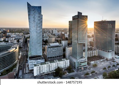 Sundown over Warszawa city, capital of Poland - Shutterstock ID 148757195