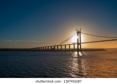 Sundown shot of a bridge that crosses the Mozambique Channel at Maputo.