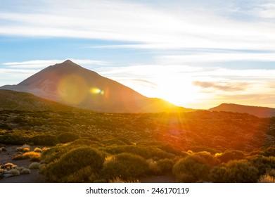 Sundown in the Teide national Park, Tenerife, Spain.