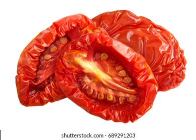 Sundried or dried tomato halves. Clipping paths, shadowless