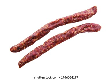 Sun-dried pork sausage isolated on white background